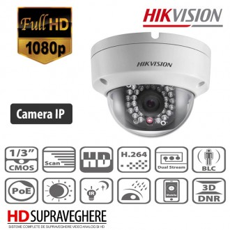 CAMERA DOME IP INTERIOR/EXTERIOR , 2MP , FULL HD , WiFi , HIKVISION DS-2CD2122F-IWS
