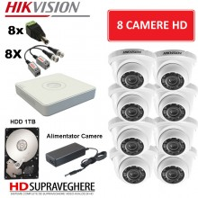 Kit supraveghere video complet 8 camere Dome HD 720p IR20m Hikvision