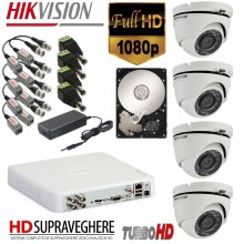 Kit supraveghere complet 4 camera DOME ,FULL HD 1080P Hikvision