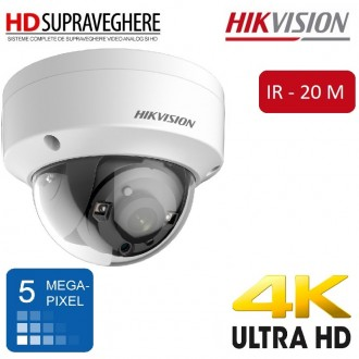 Camera dome interior/exterior, 5MP, UltraHD 4K, IR 20 M, HIKVISION TurboHD 3.0 DS-2CE56H1T-VPIT