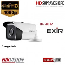 Camera bullet,exterior, 3.0 MP,FullHD , IR EXIR 40M, HIKVISION TurboHD DS-2CE16F1T-IT3