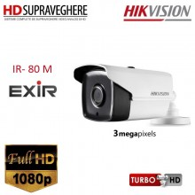 Camera bullet, exterior, FullHD, 3.0 MP, IR EXIR 80 M, HIKVISION TURBOHD DS-2CE16F1T-IT5