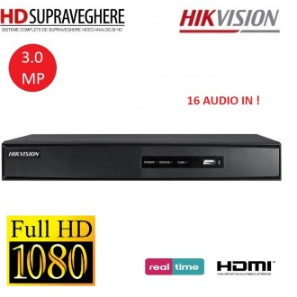 DVR HDTVI, 16 canale, FullHD, 16 intrari audio, HIKVISION DS-7216HQHI-F2/N/A TurboHD