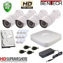 Kit supraveghere video complet 4 camere IP HD 720p exterior , IR 25 M , 1.3 MP