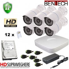 Kit supraveghere video complet 6 camere IP HD 720p exterior , IR 25 M , 1.3 M