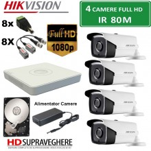 Kit supraveghere video complet 4 camere FULL HD 2.0MP IR80M Hikvision