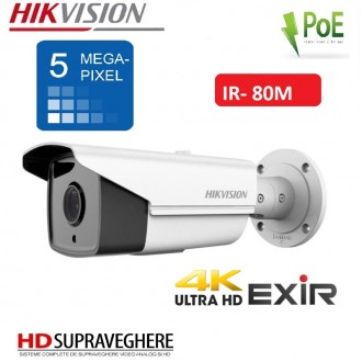 CAMERA EXTERIOR IP ULTRA HD 4K, IR EXIR 80M , 5 MP HIKVISION DS-2CD2T52-I8