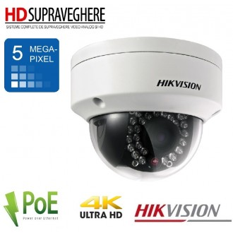 CAMERA IP DOME ULTRAHD 4K ,5.0 MP, IR 30M ,SD CARD ANTIVANDAL , HIKVISION DS-2CD2152F-I