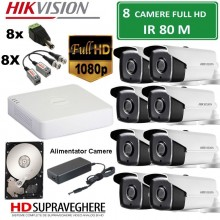 Kit supraveghere video complet 8 camere FULL HD 2.0MP IR80M Hikvision