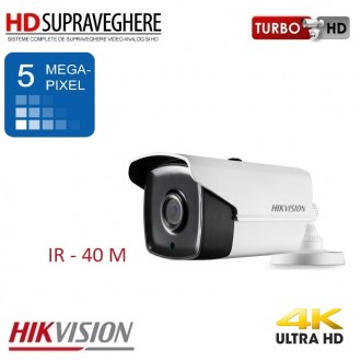 Camera bullet, exterior, 5.0 MP, UltraHD 4K, IR 40 M, HIKVISION TurboHD DS-2CE16H1T-IT3