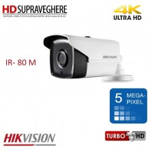 Camera supraveghere bullet exterior, 5.0 MP, UltraHD 4K, IR 80M, HIKVISION TurboHD DS-2CE16H1T-IT5