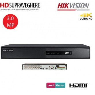 DVR HDTVI, 16 canale, UltraHD, 3.0 MP, HIKVISION DS-7216HQHI-F2/N/A TurboHD 3.0