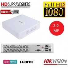 DVR HDTVI 16 canale,2.0 MP, Full HD 1080P cu Audio Over Coax, ,HIKVISION DS-7116HQHI-K1 (S) TurboHD