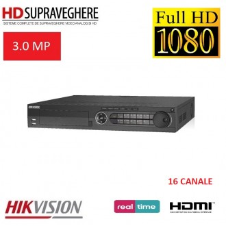 DVR HDTVI, 16 canale, FullHD, TurboHD 3.0 MP,HIKVISION DS-7316HQHI-F4/N TurboHD 3.0