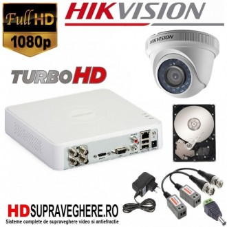 Kit complet de supraveghere 1 camera DOME 2 MP, IR 20M, FULL HD HIKVISION