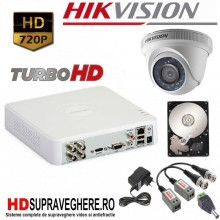 Kit supraveghere complet 1 camera dome TurboHD 720P HIKVISION