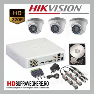 Kit complet supraveghere 3 camere dome HD 720p TurboHD Hikvision