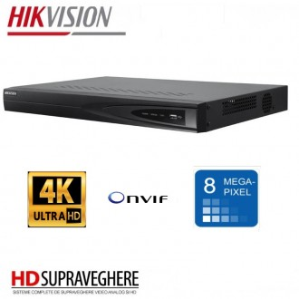 NVR 4 canale IP, 8MP, 4K UltraHD Hikvision DS-7604NI-K1