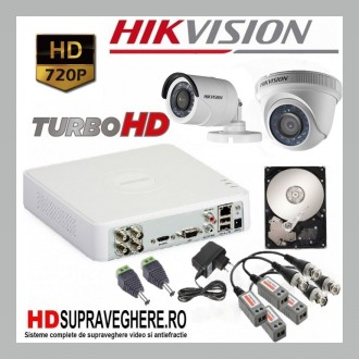 Kit supraveghere complet 2 camere HD TurboHD 720P HIKVISION