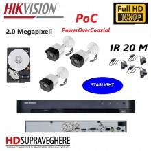 Kit complet de supraveghere 3 camere,exterior, IR 20 M, 2.0 MP, Starlight, PoC , FullHD, Hikvsione