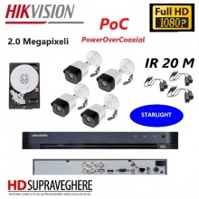 Kit complet de supraveghere 4 camere,exterior, IR 20 M, 2.0 MP, Starlight, PoC , FullHD, Hikvsion