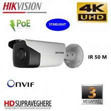 Camera de supraveghere IP, exterior,STARLIGHT, 3 MP,PoE IR 50M, 4K ULTRAHD, Hikvision DS-2CD2T35FWD-I5