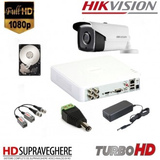 KIT SUPRAVEGHERE VIDEO COMPLET 1 CAMERA FULL HD 2.0MP IR80M HIKVISION