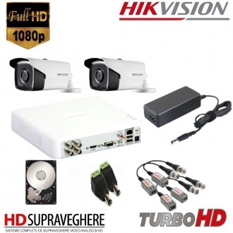 KIT SUPRAVEGHERE VIDEO COMPLET 2 CAMERE FULL HD 2.0MP IR80M HIKVISION