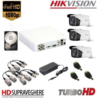 KIT SUPRAVEGHERE VIDEO COMPLET 3 CAMERE FULL HD 2.0MP IR80M HIKVISION