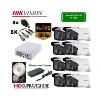 KIT SUPRAVEGHERE VIDEO COMPLET 8 CAMERE FULL HD 2.0MP IR 40M HIKVISION