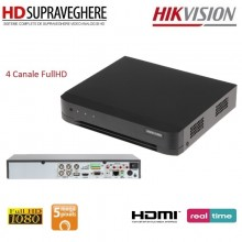 DVR HDTVI , 4 canale,Audio Over Coax, Turbo 4.0 Hikvision HD DS-7204HUHI-k1 (S)